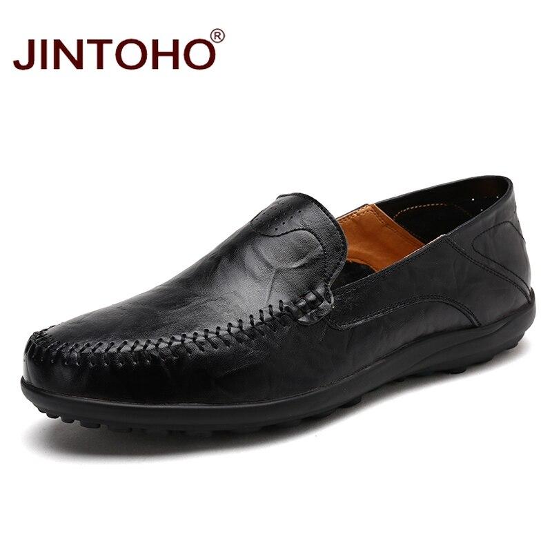 JINTOHO Men Casual Leather Shoes Brand Men Boat Shoes Fashion Men Genuine Leather Shoes Slip On Men Loafers Male Leather Shoes картридж epson c13t580300 для stylus pro 3800 magenta пурпурный