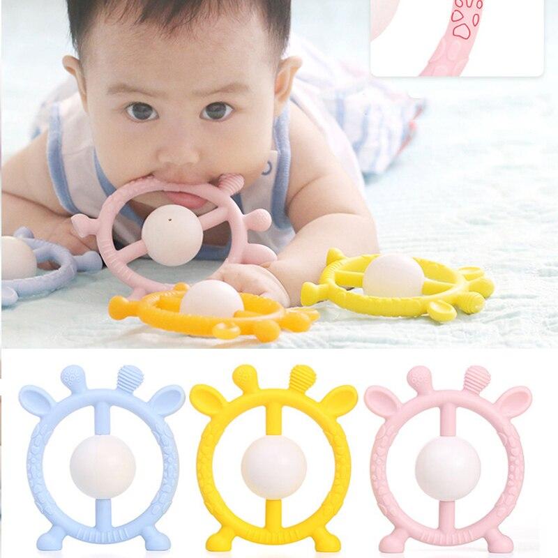 0-12 mites Silicone anneau de dentition hochet jouets pour nourrissons molaire tige dent solide saisir main saisir cloche hochet jouets