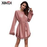XIKOI Korean Autumn Winter Dress Tunic Ladies O Neck Long Sleeve Tassel Knee length Dress Casual Velvet Women Dress With Belt