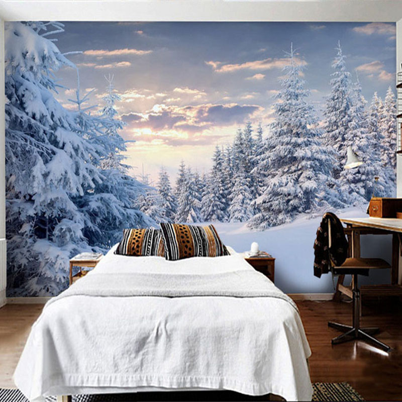 Custom Mural Wallpaper 3D Snow Mountain View White Forest Scenery Photo Wall Painting Living Room Restaurant Papel De Parede 3 D