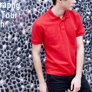 Image 4 - Мужская рубашка поло, Мужская одежда, мужские футболки поло, Повседневная летняя хлопковая Однотонная рубашка поло, 2019