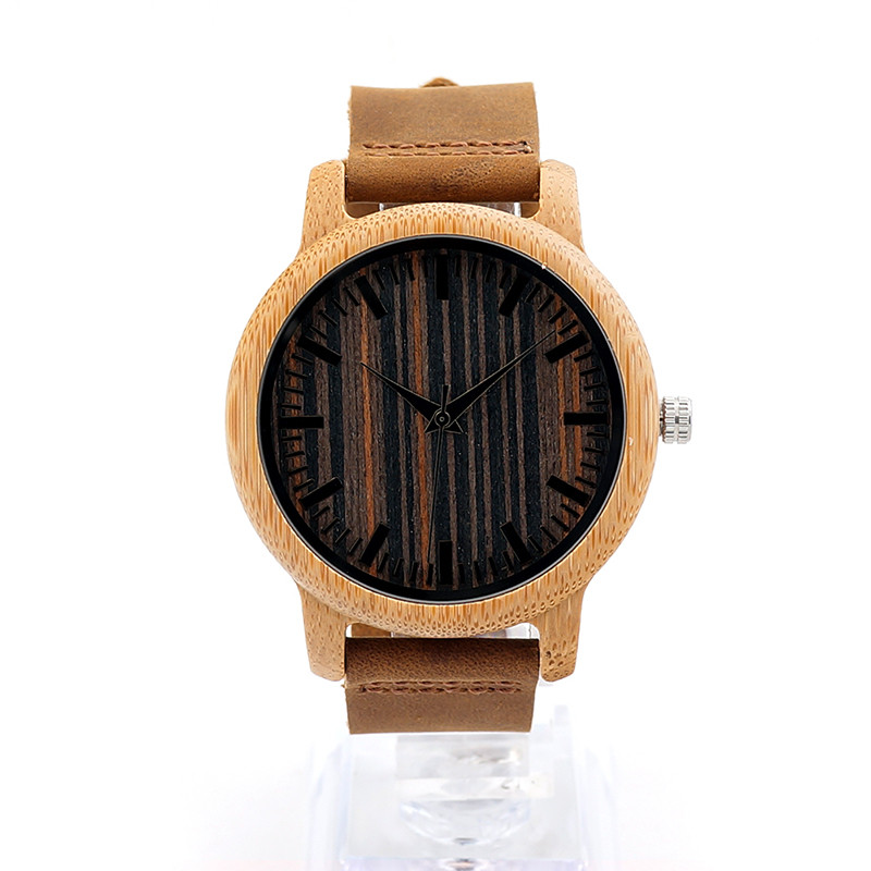 BOBO BIRD Mens Handmade Leather Strap Wooden Watches 16