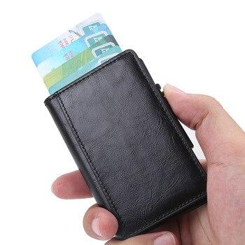 792483985 Cartera de aluminio para hombre con bolsillo y tarjetero Rfid con bloqueo  Mini Cartera de Metal delgada con cierre automático para tarjetas de crédito