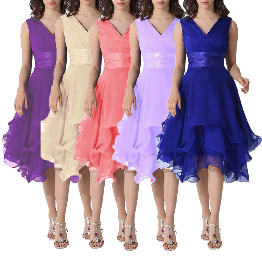 Cheap Coral Purple Blue Women\'s V Neck Short Chiffon Bridesmaid ...