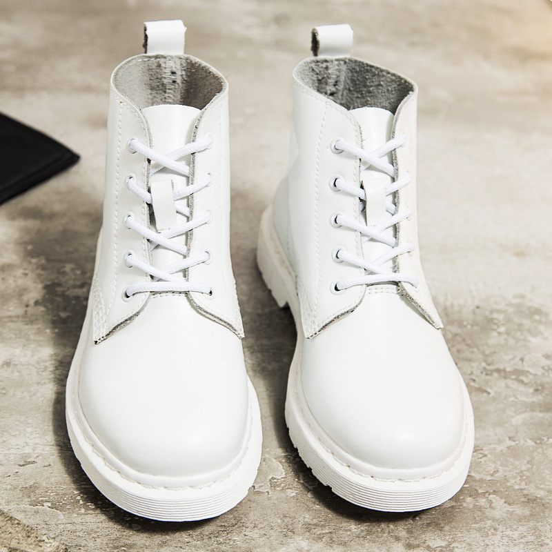 Genuine Leather Women white ankle Boots Martin Boots Female Autumn Winter Shoes Woman punk Motorcycle Boots women martin boots 2017 autumn winter punk style shoes female genuine leather rivet retro black buckle motorcycle ankle booties