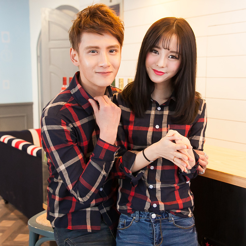 Fashion spring lovers plaid shirt long-sleeve small fresh slim vintage Min order 15$ - jim yue's store
