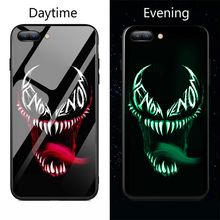 Luminous Glass Phone Case Marvel Deadpool Spiderman Venom Pattern Back Cover For Samsung Galaxy s8 s9 Plus Note 8