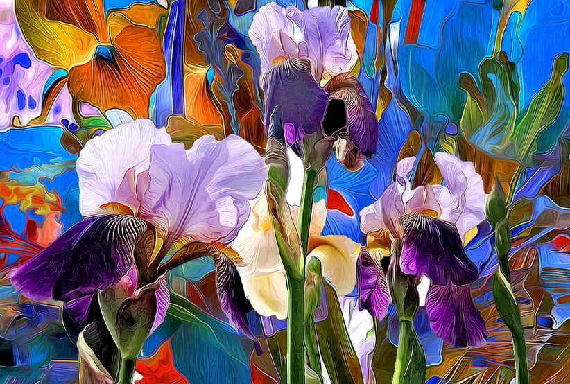 HD Printed Modern Decor Art Wall oil Paintings Iris