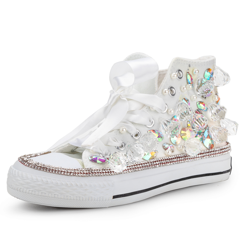 Women Canvas Shoes High-top Vulcanized Shoes Crystal Sewed Rhinestone Big Size 44 Hot Sale Girls Beautiful Sneakers New Designs