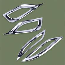 DWCX 4 Uds cromo frente del coche y luz antiniebla trasera cubierta Ajuste de bisel moldeado para Hyundai Sonata i45 YF 2011, 2012, 2013, 2014