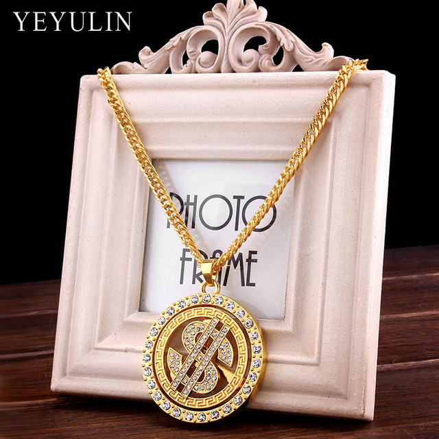 New Design Gold Color Alloy Dollar symbol Angel Crystal Pendant Statement Necklace For Women Men Jewelry Gift