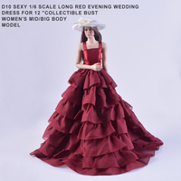 D10 Red With White Hat Long Skirts Sexy Evening Dress For 1 6 Scale Female 12