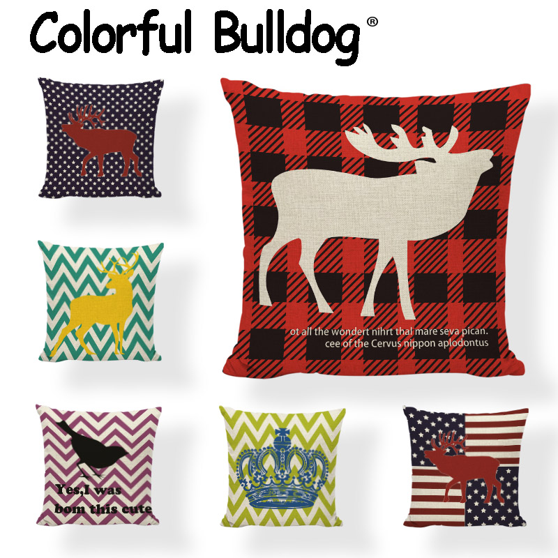 Moose Merry Christmas Cushion Cover Striped Black Birds 43*43cm Crown Mustache Deer Camping Living Room Home Decorate Pillowcase