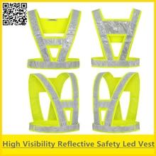 Hi vis traffic safety Led vest reflective led vest safety vest led lights fluorescent yellow vest with led lamps free shipping