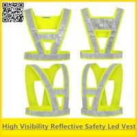 SPARDWEAR 안전 조끼 반사 led 조끼 안전 조끼 led 조명 형광 노란색 조끼 led 램프 무료 배송