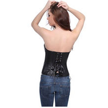 Women Strapless Black / Red Lace up Back Corset / Faux Leather