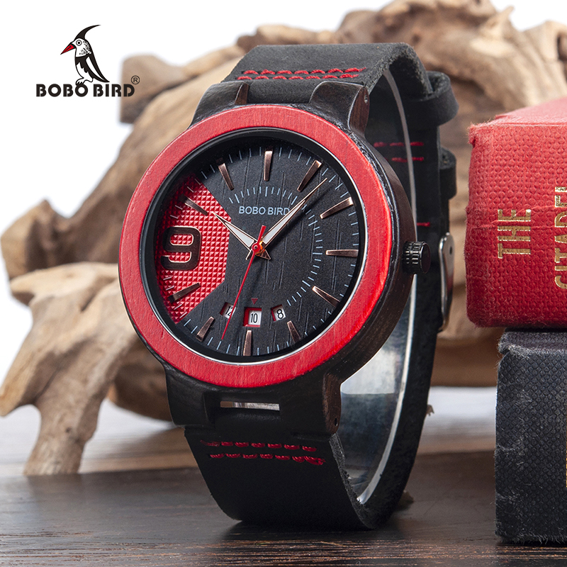 BOBO BIRD Men Watch Red Sandalwood Analog Quarzt Wristwatch Mens Casual Dress Wristwatch in Gift Box relojes hombre 2017