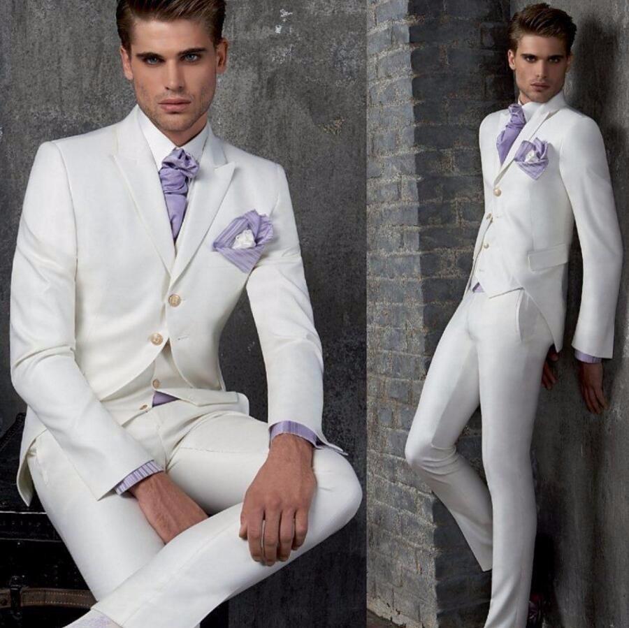 17.1 New Custom Made White Men Wedding Suits Groom Tuxedos Groomsmen Formal Suit Coat+Pants+Vest three-piece