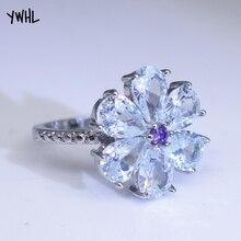 где купить New inlaid white zircon drop pear flower ring, snow flower Christmas lady jewelry дешево