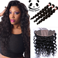 13x4 Silk Base Frontal With Bundles Loose Wave 3pcs Peruvian Virgin Hair With Closure 7A Lace Frontal Closure With Bundles