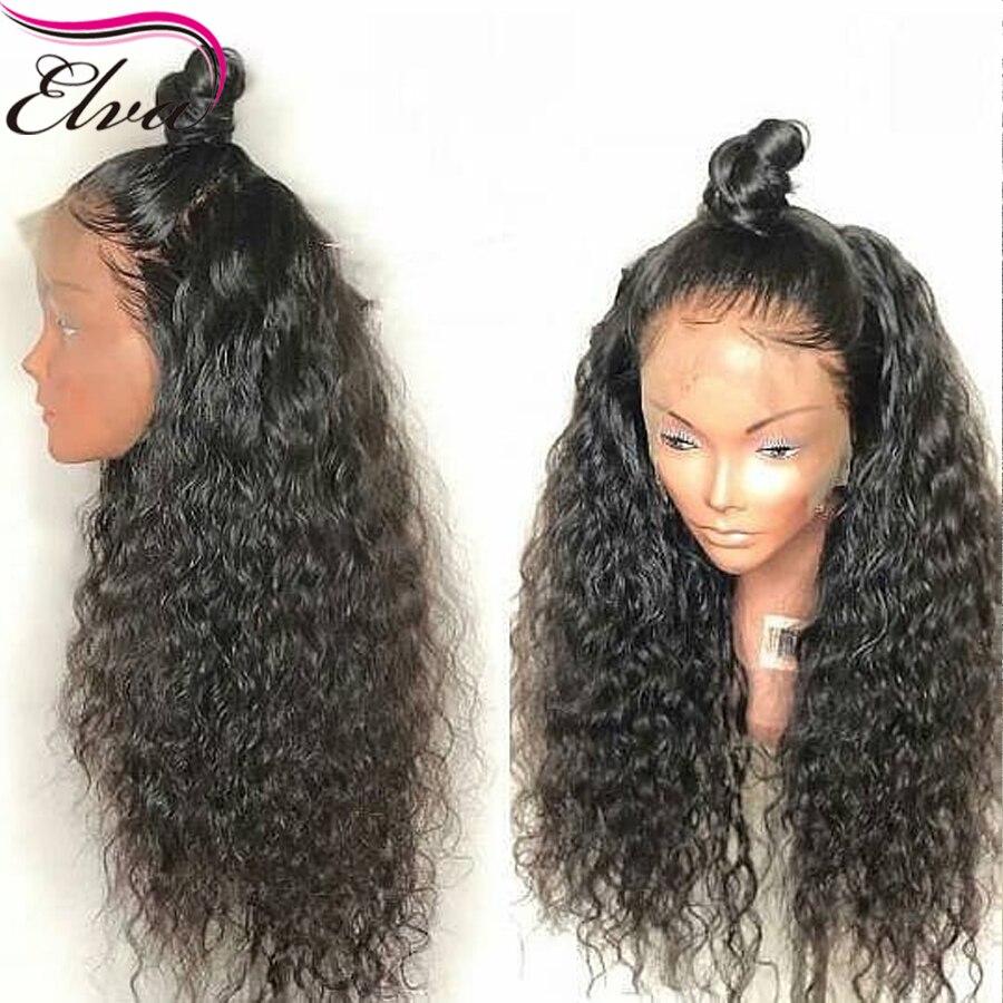 Elva 13x6 человеческие волосы на кружеве парики для черных женщин 150 плотность бразильские волосы remy Вьющиеся парики на сетке предварительно со...