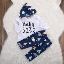 Newborn Girl Boy Baby Bear Cotton Long Pants Hat 3pcs Outfits Set Clothes