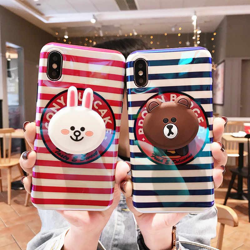 3D Cartoon Brown Bear Cony Air Bag Cell Phone Bracket Soft IMD Case For iPhone  XS ff80d605a86c