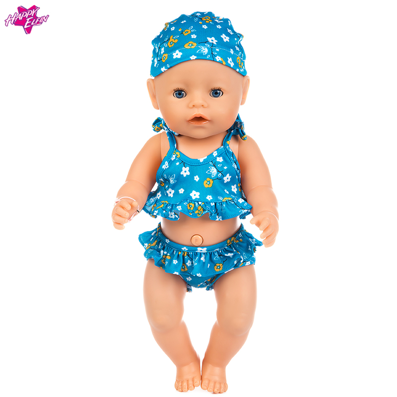 One Set Swimwear American Girl Doll Clothes Swimsuit Doll Clothes for 18 inch Dolls Zapf Baby Doll Accessories