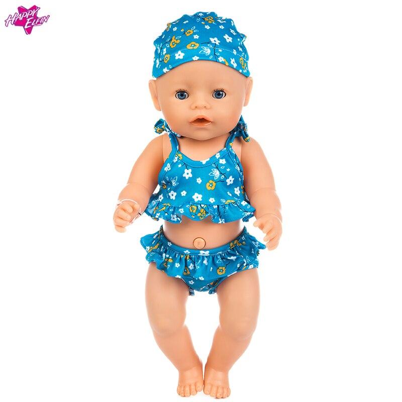 One Set Badkläder Baby Nyfödd Boy Girl Doll Kläder Baddräkt Dollkläder för 18 tums dockor Baby Doll Accessories