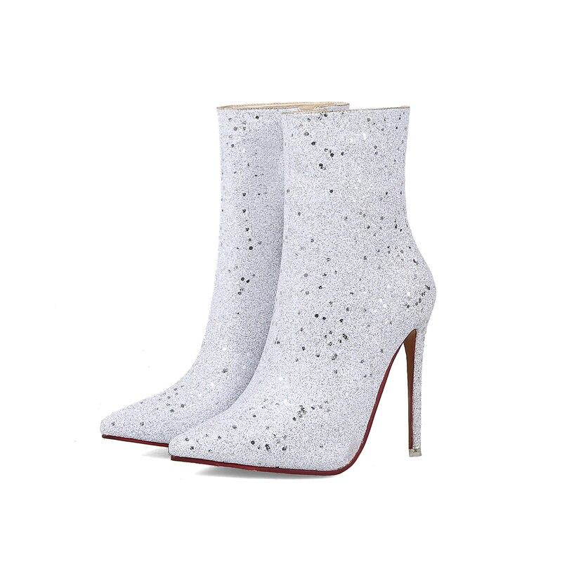 Mode Bout 2018 Noir Stiletto Pointu Nouvelle Grande Taille Bling Femmes Bottes 43 blanc Cheville golden Élégant Talons 31 Memunia fzFa5qa