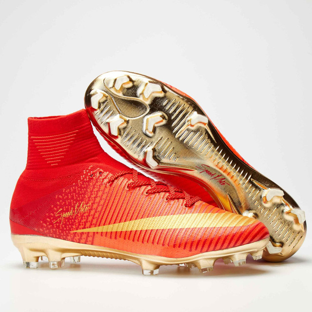 2017 Hot Sale Men Superfly Football Boots FG High Ankle Soccer Shoes Original Kids Outdoor Cleats Red God Sneakers Wholesale