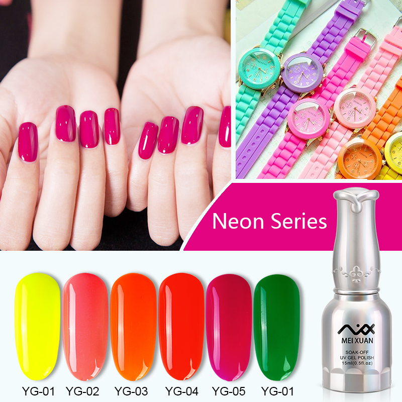 Meixuan Shiny Color UV Gel Nail Polish Lucky Colorful Neon UV Gel ...