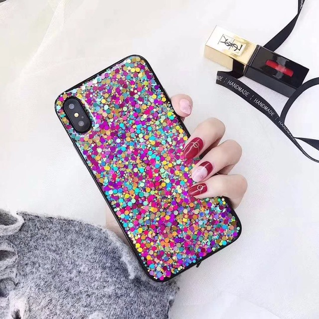 best service d58a8 9a631 US $2.91 38% OFF|Ayeena Colorful Sequins Inside TPU Case For iPhone X 6  6plus 7 7plus 8 8plus Bling bling Sparkle Capas Covers Girly Conque-in  Fitted ...