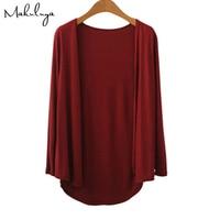 Makuluya Women Solid Color Modal Female Outerwear Short Sweater Lady Long Sleeve Cardigan Coat Sapphire WineRed