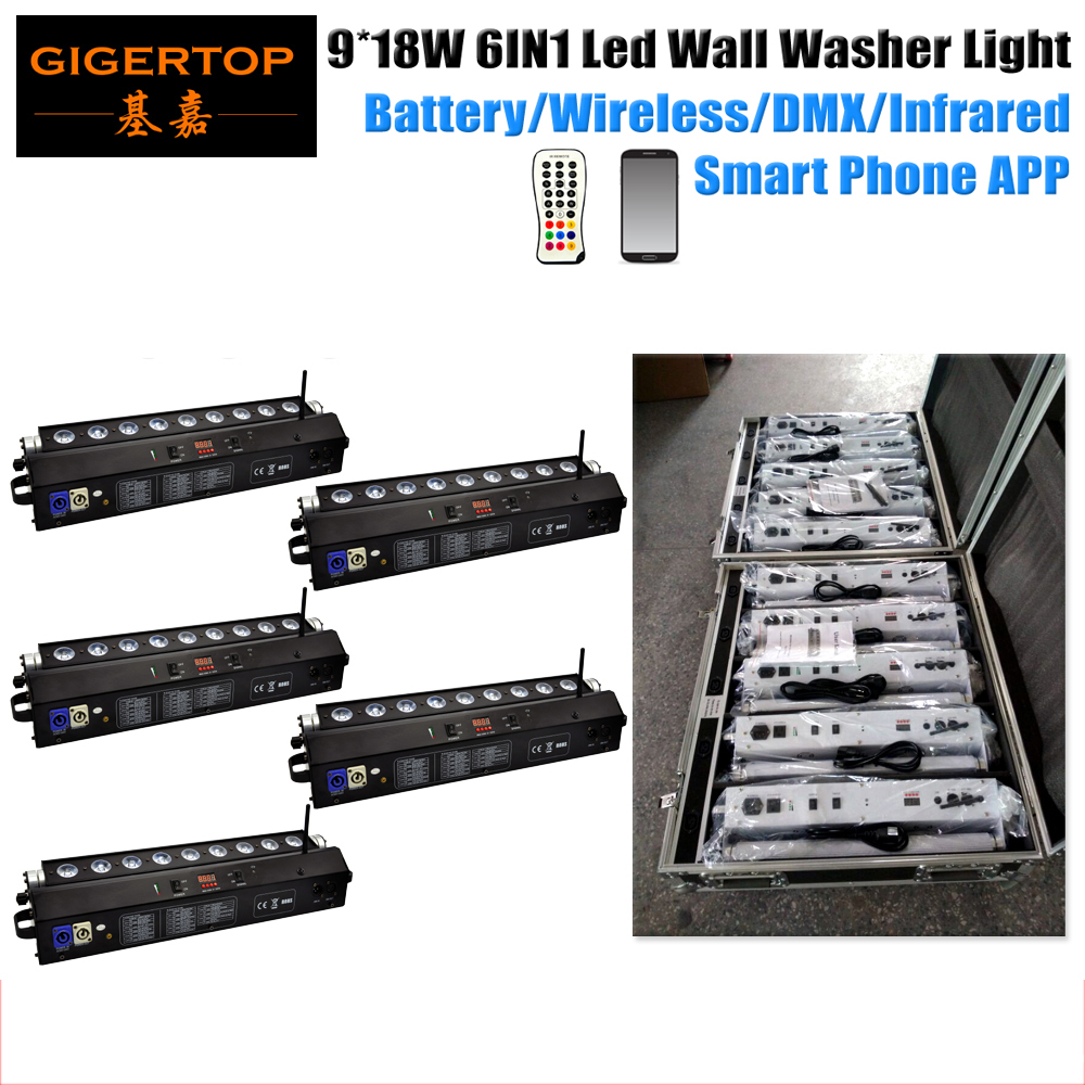 5IN1 Recharging Road Case Pack 9x18W Black Housing 6IN1 Led Wall Washer Light Wifi Dmx Control Battery Wall Washer Bar RGBWA UV