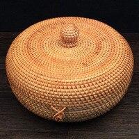 Handmade rattan storage boxes with lids Pu'er tea cans tea jars container tea storage box tins caddy organizer Home Organization
