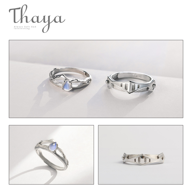 Thaya Natural Blue Light Moonstone Rings Lovers' Romantic Ring 100% s925 Silver Armour Bands For Women Vintage Elegant Jewelry 4