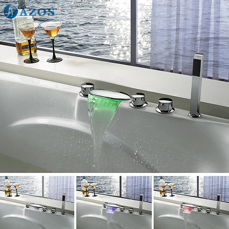 Bathtub Faucets LED Light Waterfall Spout Light Bathroom Suana 5pc Sets Showerhead,Diverter,Two Handles,Shower Hose YGWJ027 ...