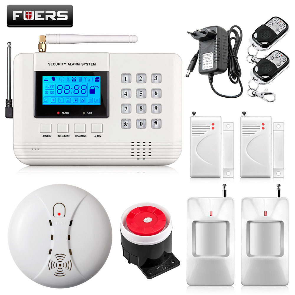 LCD Keyboard Wireless Home GSM PSTN Alarm systems House intelligent auto dial Burglar Security Alarm System kit + WIFI camera wireless smoke fire detector for wireless for touch keypad panel wifi gsm home security burglar voice alarm system