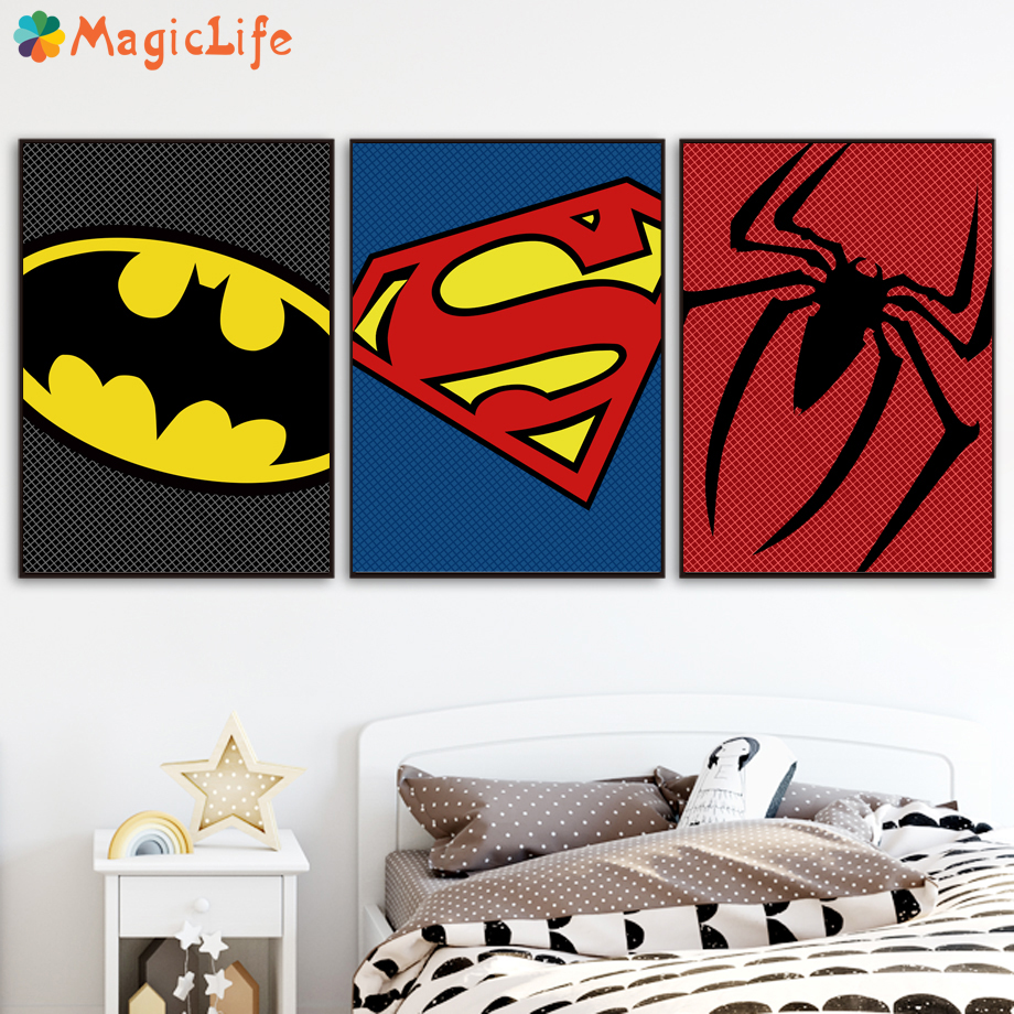 Superman Batman Marvel Avengers Movie Posters Canvas Painting Nordic Posters And Prints Black White Wall Pictures Unframed in Painting Calligraphy from Home Garden
