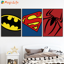 Superman Batman Marvel Avengers Movie Posters Canvas Painting Nordic And Prints Black White Wall Pictures Unframed