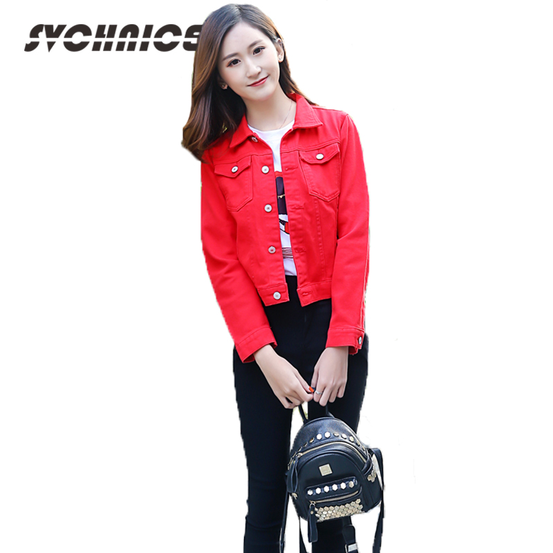 Plus Size Pink Jeans Jacket For Women Autumn Long Sleeve Ladies Outwear Red Denim