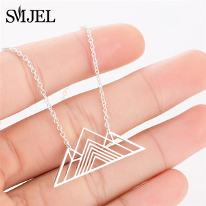 SMJEL 2018 Trendy Art Deco Triangle Necklace Women Mountain Charm Geometric Necklaces Stainless Steel Jewelry(China)
