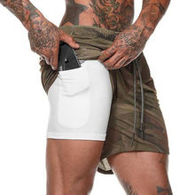 New Men 2 in 1 Running Shorts Gym Fitness Bodybuilding Training Quick Dry Beach Short Pants Male Summer Workout Crossfit Bottoms