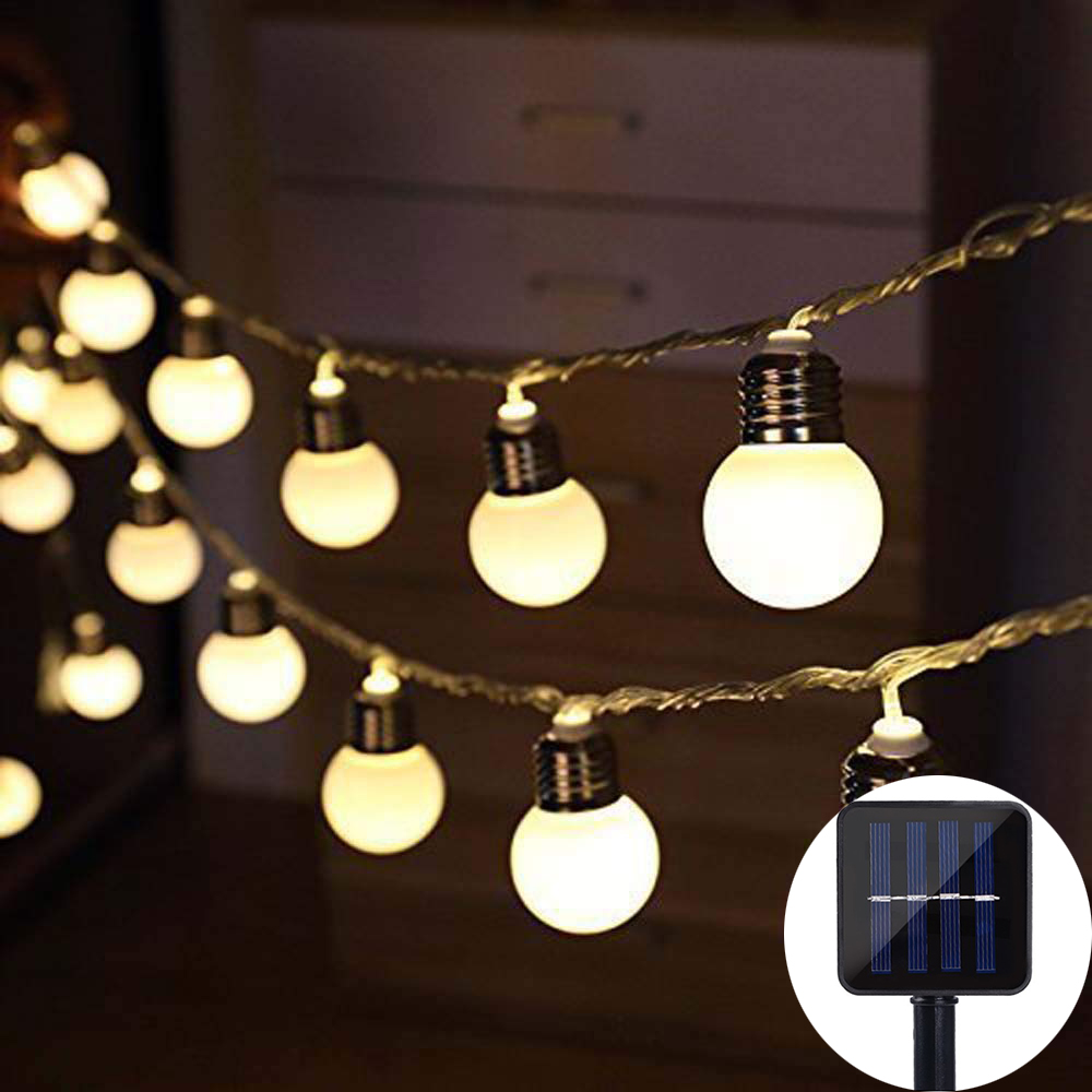 Solar Powered 10/20/30 LED G50 Globe String Fairy Light Festoon Bulb Christmas String Light Outdoor Wedding Party Garden Garland