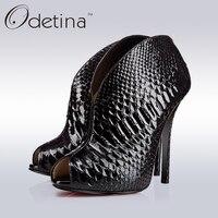 Odetina Brand New Fashion Luxury Womens Peep Toe Ankle Boots High Heel Snakeskin Sandals Stiletto Heels