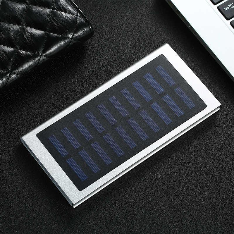 الشمسية 30000 mah قوة البنك بطارية خارجية 2 USB LED تجدد Powerbank المحمولة الهاتف المحمول الشمسية شاحن هواتف xiaomi mi iphone XS 8plu