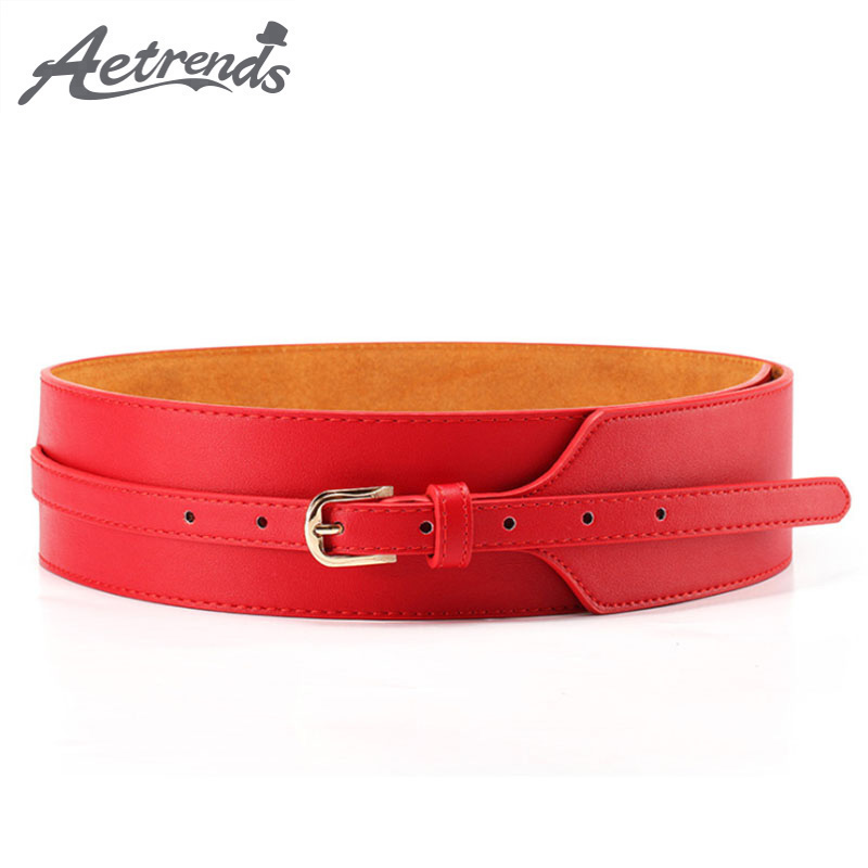 [AETRENDS] Luxury Europe Style Strap Pin Buckle Cinch Belt Wide Leather Cummerbunds Waistband Belts For Women D-0092
