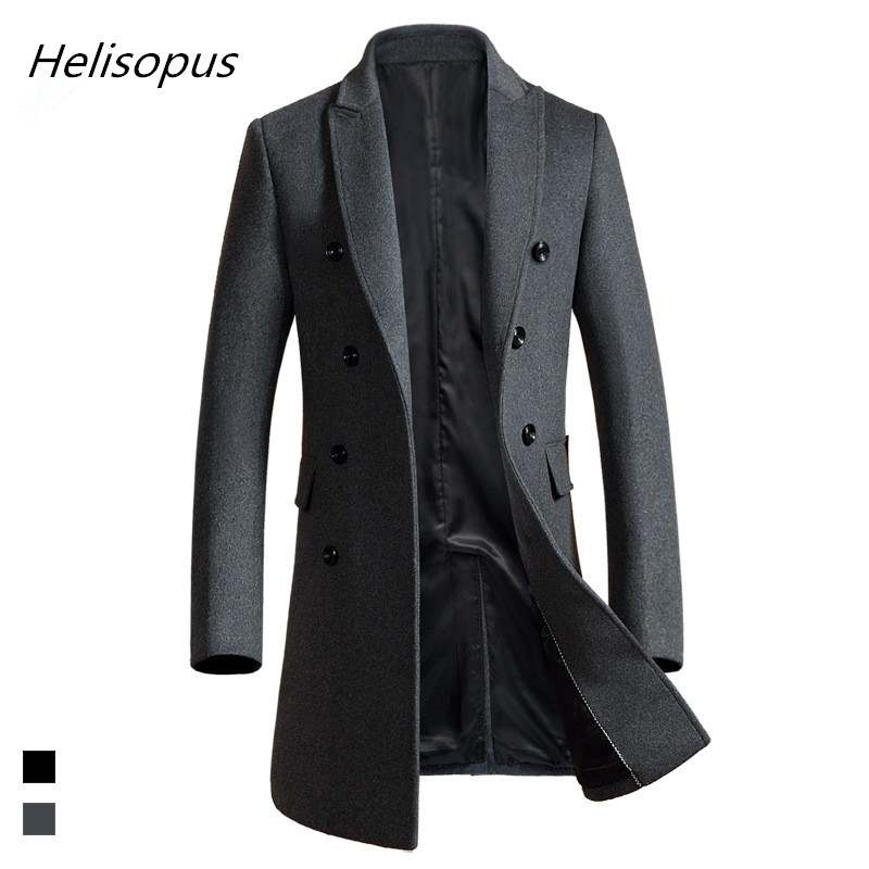 Helisopus Coat Men Jacket Business Autumn Long Casual Warm Slim Spring Wool Luxury