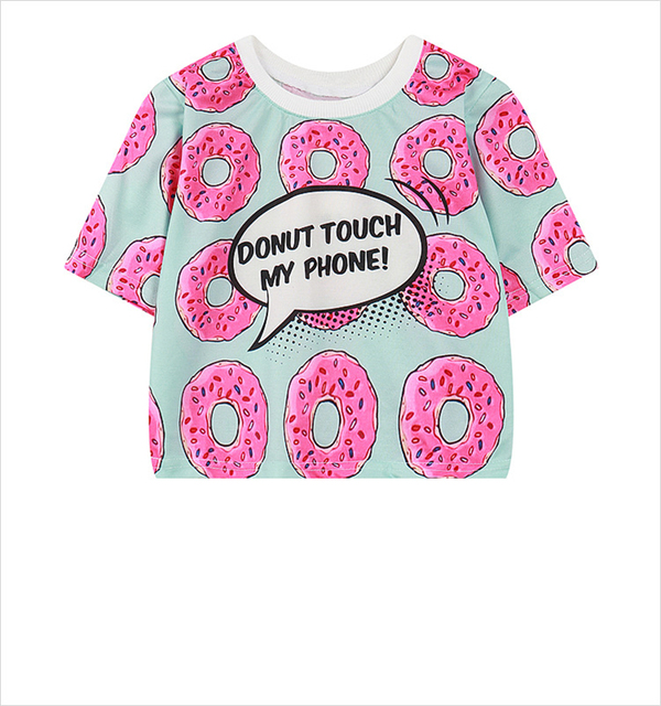 3c8f6ac5 Hip Hop Punk Tee Shirts Crop Tops Women/Men Pink Lovely Donuts Printed Crop  Tops Casual 3D T Shirt Camisetas Whole sales